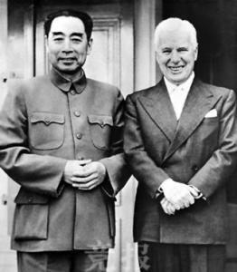 Charles Chaplin na setkání s Čou En-lajem
