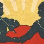 Dělník a voják si podávají ruce