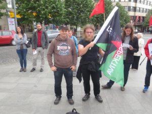 Demonstrace proti NATO, Praha 20. květen 2017. Členové Levé Perspektivy