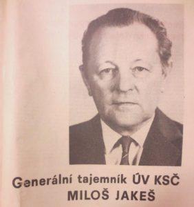 Miloš Jakeš na snímku vydaném po jeho zvolení generálním tajemníkem ÚV KSČ v r. 1987