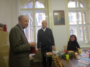 Miloš Jakeš s Pavlem Degťarem a Martou Semelovou v září 2017
